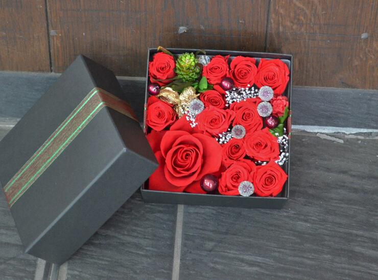 金婚式 プリザーブドフラワー宝石箱BOXアレンジ