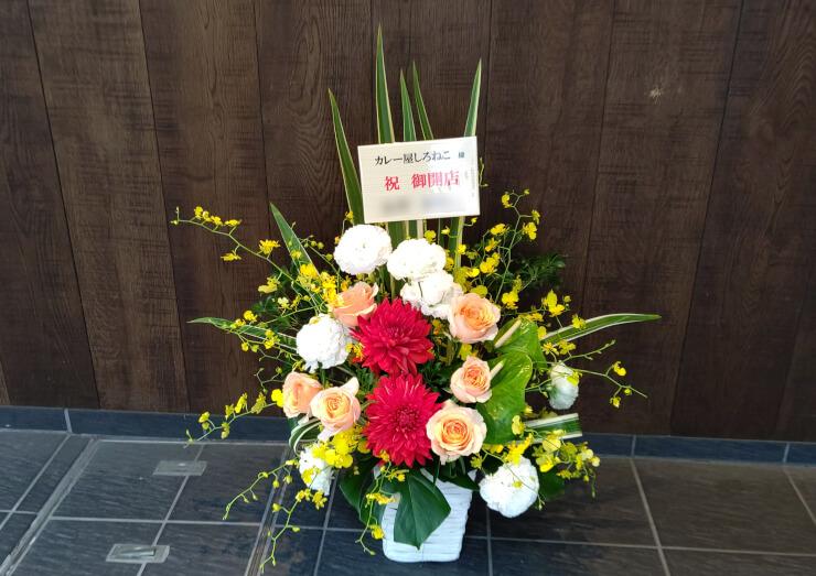 大阪市 カレー屋しろねこ様の開店祝いに贈られた花