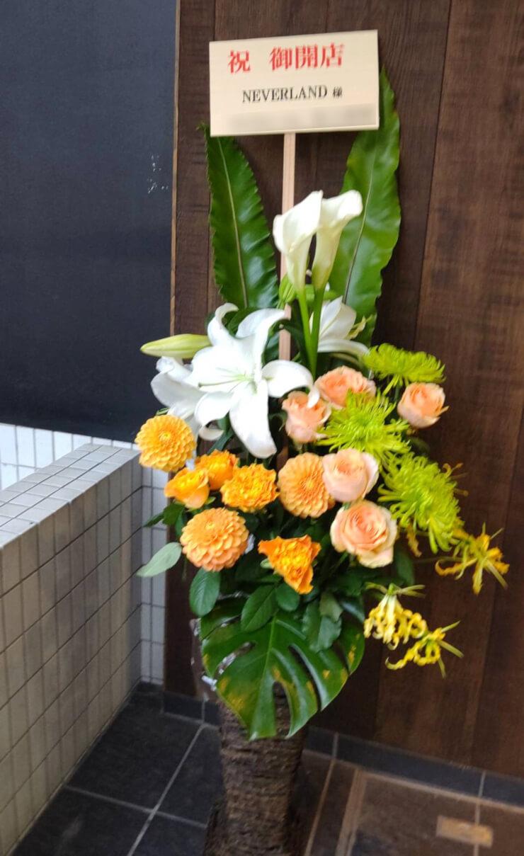 六本木 NEVER LAND様の開店祝いにお届けした籠スタンド花