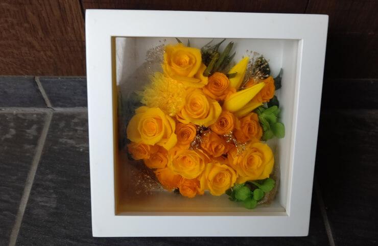 新宿区四谷 米寿祝いに贈られた花 プリザーブドフラワーフレームアレンジ